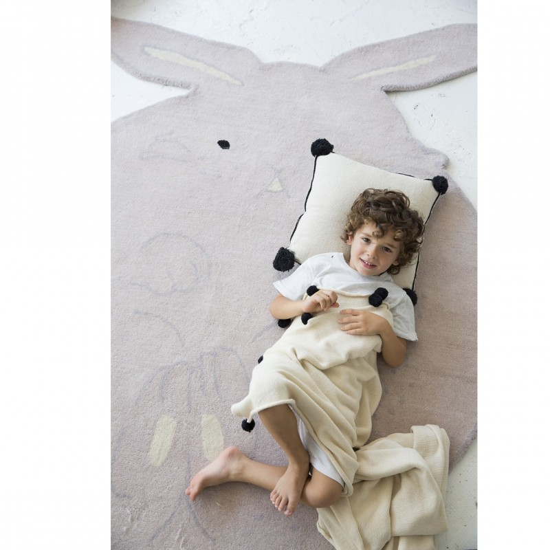 grand tapis lapin en laine pour enfants. Black Bedroom Furniture Sets. Home Design Ideas