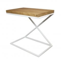 Table d'appoint blanche et bois