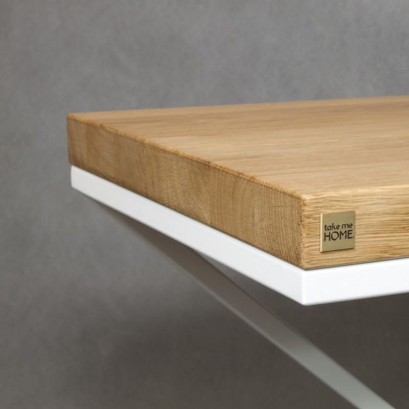 Table d 39 appoint plateau ch ne for Table blanche et bois