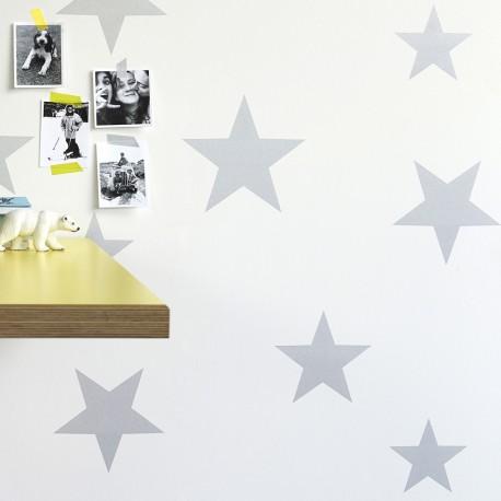 Papier Peint Etoiles Argentees Sur Fond Blanc