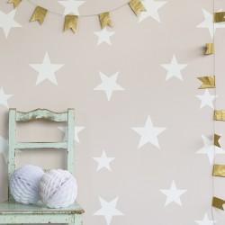 Papier peint étoiles blanches sur fond rose