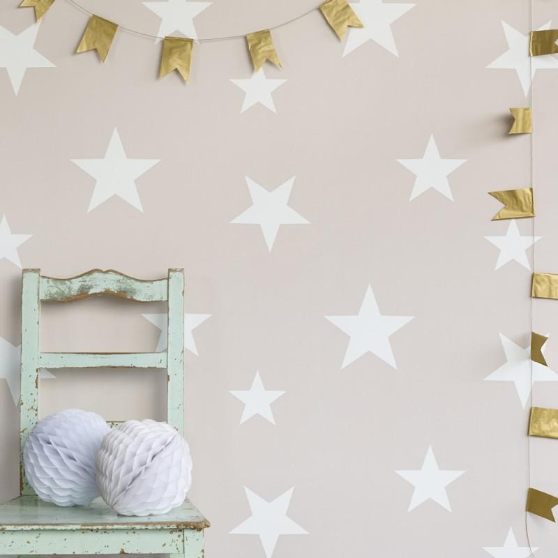 papier peint toiles blanches sur fond rose p le. Black Bedroom Furniture Sets. Home Design Ideas