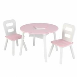 Table et chaises - Blanc et rose